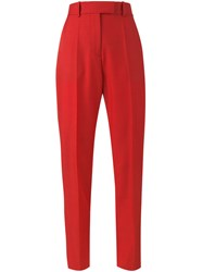 Racil High Waisted Striped Trousers Women Polyester Triacetate Viscose Wool 40 Red