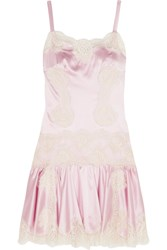 Dolce And Gabbana Lace Paneled Silk Blend Satin Chemise Baby Pink
