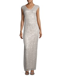 Kay Unger New York Sequined Lace V Neck Gown Silver