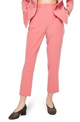 Topshop Cropped Suit Trousers Pink