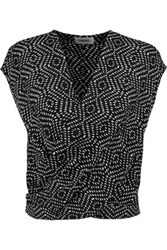 L'agence Lee Printed Silk Wrap Effect Top Black