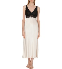Nk Imode Silk Satin And Lace Nightgown Champagne Black Lace
