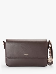 Dkny Bryant Leather Medium Flap Cross Body Bag Dark Chocolate