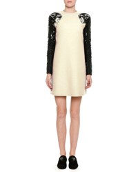 Valentino Sequined Panther Crepe Couture Minidress White Black White Black