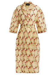 Simone Rocha Floral Embroidered Single Breasted Tulle Coat Yellow Multi