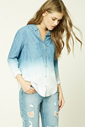 Forever 21 Ombre Denim Shirt Medium Denim