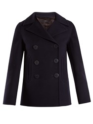Joseph Hector Double Breasted Wool Blend Pea Coat Navy