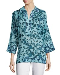 Escada 3 4 Sleeve Printed Tunic Multi Colors
