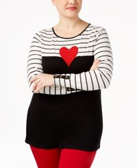 Charter Club Plus Size Beaded Heart Colorblocked Top Only At Macy's Deep Black Combo