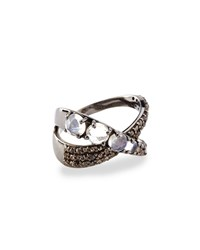 Siena Jewelry Moonstone And Diamond Ribbon Ring Gold