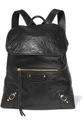 Balenciaga Classic Traveller Glossed Textured Leather Backpack Black