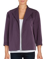 Lafayette 148 New York Three Quarter Sleeve Open Jacket Berry