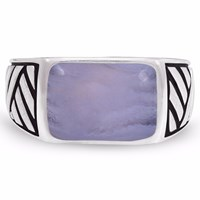 Lmj Blue Lace Agate Stone Ring