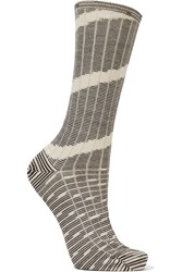M Missoni Ribbed Effect Wool Blend Socks Black