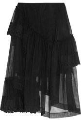 Simone Rocha Asymmetric Broderie Anglaise Trimmed Tiered Tulle Skirt Black