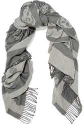 Alexander Mcqueen Reversible Intarsia Wool And Cashmere Blend Scarf Gray