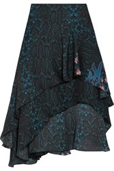 Preen By Thornton Bregazzi Ambrosse Asymmetric Printed Silk Chiffon Skirt Midnight Blue