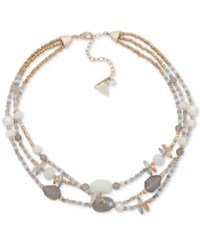 Lonna And Lilly Gold Tone Multicolor Bead Triple Row Collar Necklace 16 3 Extender Ivory