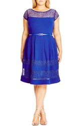Plus Size Women's City Chic Fit And Flare Dress With Delicate Lace Insets Cobalt