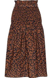 Nicholas Woman Belted Shirred Printed Cotton And Silk Blend Midi Skirt Animal Print