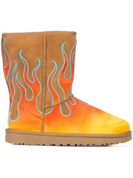Jeremy Scott Flame Boots Sheep Skin Shearling Brown