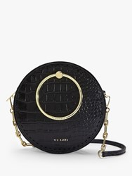 Ted Baker Astorii Leather Croc Print Circular Cross Body Bag Black