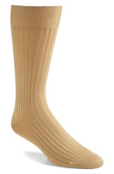 Men's Pantherella Cotton Blend Mid Calf Dress Socks Light Khaki 08