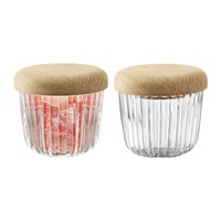Lsa International Pleat Glass Pot And Oak Lid Set Of 2