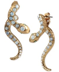 Betsey Johnson Gold Tone Iridescent Stone Snake Front And Back Earrings