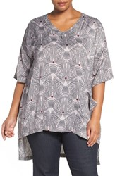 Melissa Mccarthy Seven7 Plus Size Women's One Pocket Print V Neck Tee Cloud Grey