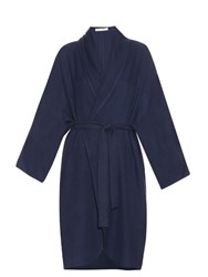 Denis Colomb Herringbone Cashmere Wrap Cardigan Navy