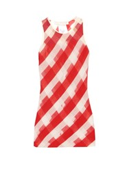 Stella Mccartney Striped Sheer Knit Top Red Stripe