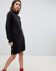 B.Young Jumper Dress With Gold Button Detail Black