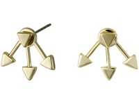 French Connection Triangle Front Back Earrings Gold Earring