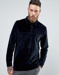 Asos Longline Long Sleeve Polo Shirt In Navy Velvet With Rugby Styling Navy