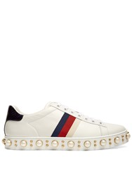 Gucci New Ace Faux Pearl Embellished Leather Trainers White