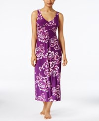 Alfani Floral Print V Neck Nightgown Only At Macy's Purple Floral