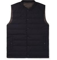 Incotex Nanamica Slim Fit Reversible Checked Shell And Wool Blend Quilted Down Gilet Blue