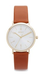 Dkny Minetta Leather Watch Brown Gold Silver