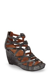 Women's L'amour Des Pieds'ivanna' Gladiator Wedge Sandal Graphite Leather