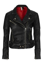 Topshop Quilted Leather Biker Jacket Black