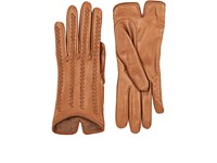 Barneys New York Women's Whipstitched Leather Gloves Brown