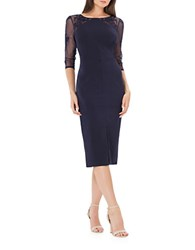 Js Collections Boatneck Embroidered Sheath Dress