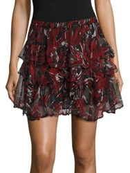 Iro Dicie Tiered Ruffle Skirt Black Red