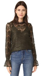 Nicholas Arch Lace Long Sleeve Top Olive Green