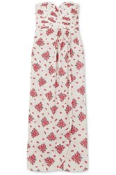 Rebecca De Ravenel Dandelion Strapless Floral Print Cotton Maxi Dress Cream