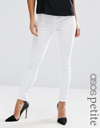 Asos Petite Ridley High Waist Skinny Jeans In White White