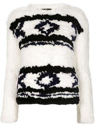 Tibi Rabbit Fur Fair Isle Sweater White