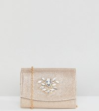 True Decadence Foldover Metallic Clutch With Cross Body Strap Gold