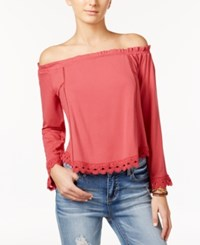 One Hart Juniors' Ruffled Off The Shoulder Top Only At Macy's Baroque Rose